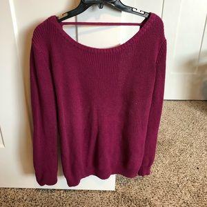 Sweaters - Dark Pink Open Back Sweater